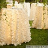 공상 우아한 결혼식 둥근 백색 꽃잎 호박단 테이블 피복