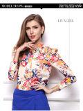 女性のための花の軽くて柔らかいワイシャツの長い袖の軽くて柔らかいワイシャツ