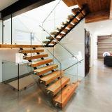 Современный дизайн деревянных прямая лестница с закаленным стеклом Balustrade