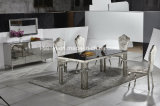 緩和されたガラスの上のステンレス鋼のダイニングテーブル