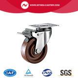 Platte Hochtemperatur-PA-Fußrolle mit Bremse