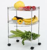 Crémaillère végétale de mémoire en métal de chrome de fruit de 3 rangées