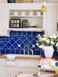 Azul oscuro 6x6 pulgadas/15x15cm brillante de la pared de cerámica esmaltada azulejo Metro baño cocina Decoración