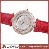 Regalo de lujo reloj de pulsera, auténtico Leatherwomen Rhinestone reloj resistente al agua.