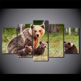HD напечатало 5 изображений стены картины семьи медведя плаката искусствоа холстины части животных для живущий комнаты самомоднейшей