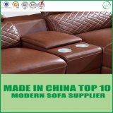 Amerikanische moderne Brown-italienische lederne Schnittsofa-Couch