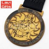 리본을%s 가진 승진 무료 샘플 주문 금속 금에 의하여 돋을새김되는 메달