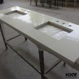 Dessus blanc de vanité de pierre de quartz de bassin de vanité de salle de bains de texture