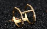 15mm de dos hileras Ziron moda anillo de cristal para la mujer cobre oro joyas anillos de boda elegante Anel para niñas