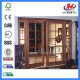 Zusammengesetzte doppelte französische festes Holz-Glas-Tür