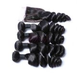 Cheveux humains d'onde lâche brésilien avec fermeture Remy Hair