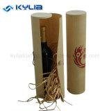 Caixa de presente do vinho da casca de vidoeiro do cilindro do frasco da câmara de ar redonda de madeira barata única
