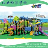 Campo de jogos vegetal médio ao ar livre da corrediça dobro das crianças com borboleta (HG-9701)
