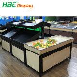 Supermercado de madera maciza de estante de la pantalla de frutas y verduras