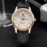 Luxuxechtes Leder-Mann-Uhr-Edelstahl-Kasten-Rückseiten-Quarz-Uhr der qualitäts-H357