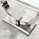 Arianna moderna mesa de comedor de mármol gris Diseño de base de acero inoxidable