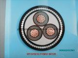 8.7/15 (17.5) quilovolts U/G cabografam 15kv, XLPE, 3X240 quadrado. IEC de cobre 60502 do condutor BS-6622 do milímetro