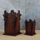 Conjunto de 2 Square Boneco de pilar suporte para velas para Decoração de Natal