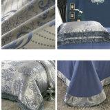 綿繻子の綿の青いジャカードキルトカバーセット