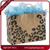 Les sacs sauvages de cadeau de clients latéraux sauvages pour des sacs de cadeau de Brown Papier d'emballage de femmes avec le traitement Twisted