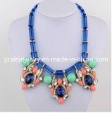 Joyería Fashionfine/ /Collar Natural de la joyería artesanal para Mujeres 2013 nuevo estilo con resina de color azul de la cadena de perlas de cristal blanco Rhinestone CZ Czech Stone Pn-153