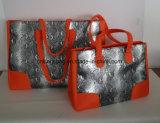 Orange Microfiber mit Tote-Beuteln der silbernen PU-Frauen