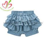 Pantaloni del pannello esterno del vestito dalla ragazza delle increspature del denim dei jeans di disegno di modo