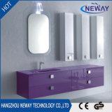 Module de salle de bains fixé au mur moderne de meubles de PVC avec le bassin en verre
