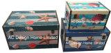 S/3 декоративные предметы антиквариата Vintage морских дизайн прямоугольные печати фиолетового цвета кожи/MDF деревянные окна соединительных линий для хранения