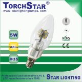 Puro Branco Alumínio 3W E14 LED vela embutida com tampa transparente