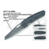"""4.5 """"Fechado forro fechadura faca de punho preto com pedra lavada: 4PT111-45bk"""