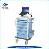 Chariot de poste de travail d'hôpital avec des tiroirs