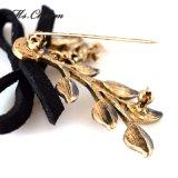 포도 수확 금에 의하여 도금되는 가죽 Bowknot 다람쥐 잎 진주 Pin 브로치