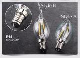 Bulbo de cristal de la cubierta del filamento de Dimmalbe de la lámpara de E14 LED