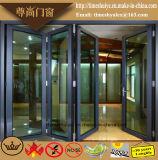 Алюминиевая дверь складчатости с деревянным цветом
