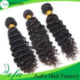 O cabelo profundo do Indian da extensão do cabelo humano do Virgin da onda