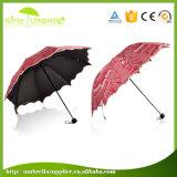 Falten-kundenspezifischer Druck-Regenschirm der Qualitäts-spezielle Form-3