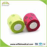 Atadura coesiva da medicina de ferimento do veterinário elástico colorido do cão de animal de estimação