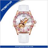 Signora vermiglia automatica orologio dell'acciaio inossidabile dell'incastronatura del diamante di modo