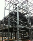 Struttura d'acciaio di alto aumento con l'edificio per uffici di vetro della parete divisoria