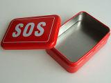 Portátil rectangular de la medicina personalizada de metales estaño botiquín de primeros auxilios de verificación