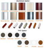 Colore di legno Windows di alluminio del grano e prova d'isolamento del suono di vetro Tempered del doppio dei portelli