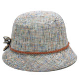Chapeau gris fait sur commande de dames de lin textile de mode