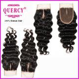 100%のインドの人間の毛髪のレースの閉鎖の新製品3.5*4inchの深い波の毛の閉鎖(CL-022)