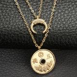 2018 La nueva moneda de la moda retro Luna Cuerno Collar de doble capa