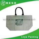 Sac d'emballage estampé promotionnel d'achats de toile de coton