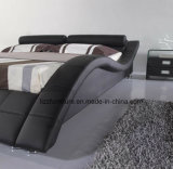 Base della camera da letto del cuoio di figura curva del nero con la base di legno