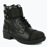 Черная зима кожи школы девушок ягнится ботинки для детей