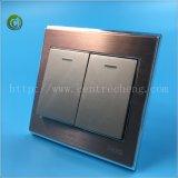 El mejor precio Gran Interruptor el interruptor de doble panel de color oro Interruptor de pared Interruptor el interruptor de luz interruptor eléctrico