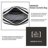 Het promotie Leer van de Zak van de Koppeling van de Streep Kosmetische Dame Wash Bag